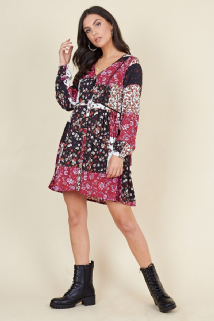 MULTI PATCHWORK BUTTON DOWN SHIRT DRESS SIZES UK 8, 10, 12, 14